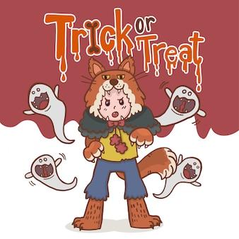 Hand drawn cartoon character halloween boy warewolves