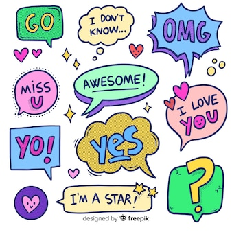Hand drawn cartoon chat bubbles with variety of messages