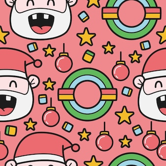Hand drawn cartoon christmas doodle pattern  illustratikn
