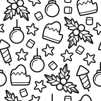 Hand drawn cartoon christmas doodle pattern