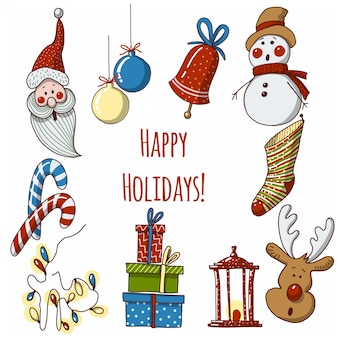 Hand drawn cartoon christmas elements and decorations
