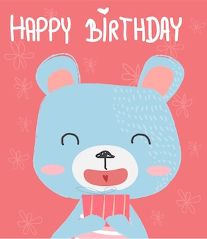 Hand drawn cartoon cute bear holding a  gift box for birthday card