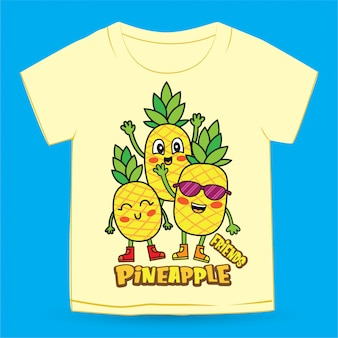 Hand drawn cartoon cute pineapple for t shirt