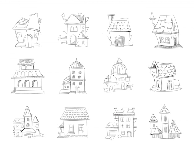 Hand drawn cartoon different houses