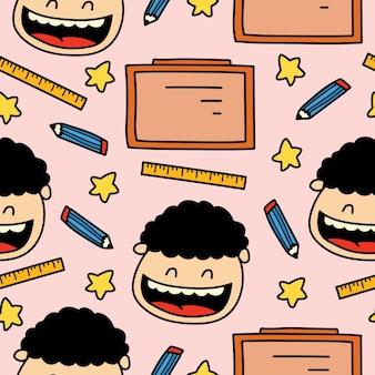 手描きの漫画の落書きを学校のパターンデザインに戻す Premiumベクター
