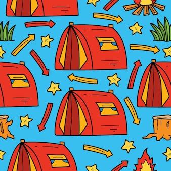 손으로 그린 만화 낙서 캠핑카 원활한 패턴 디자인