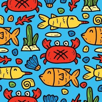 손으로 그린 만화 낙서 만화 바다 동물 패턴 디자인