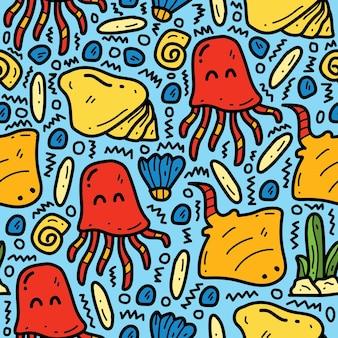 Рисованный мультфильм каракули мультфильм морских животных узор дизайн