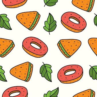 손으로 그린 만화 낙서 음식 완벽 한 패턴 디자인