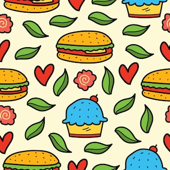손으로 그린 만화 낙서 음식 원활한 패턴 디자인