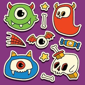 Рисованный мультфильм каракули дизайн наклейки на хэллоуин