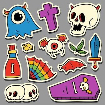 Hand drawn cartoon doodle halloween sticker design