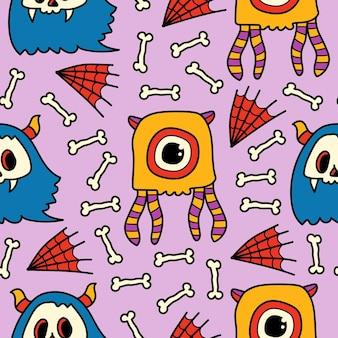 손으로 그린 만화 낙서 괴물 패턴 디자인