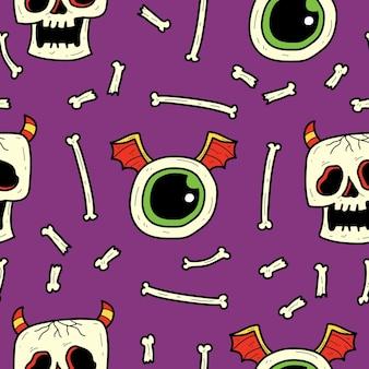 손으로 그린 만화 낙서 괴물 완벽 한 패턴 디자인