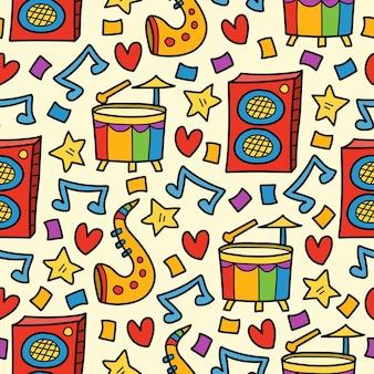 Hand drawn cartoon doodle music seamless pattern design