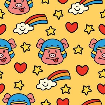 손으로 그린 만화 낙서 돼지 완벽 한 패턴 디자인