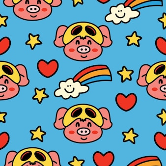 手描き漫画落書き豚シームレスパターン