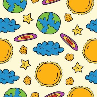 손으로 그린 만화 낙서 행성 원활한 패턴 디자인