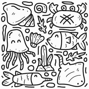 손으로 그린 만화 낙서 바다 동물 그리기 디자인