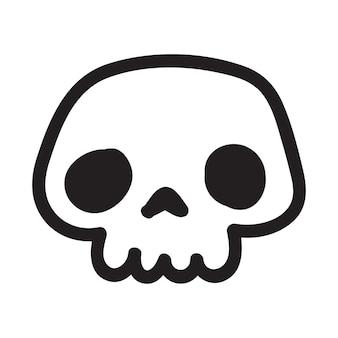 Рисованный мультфильм каракули череп смешной мультяшный череп на белом фоне