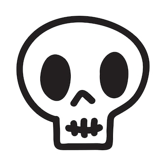 Hand drawn cartoon doodle skull. funny cartoon skull isolated on white background. vector illustration.