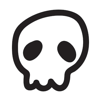 Hand drawn cartoon doodle skull. funny cartoon skull isolated on white background.