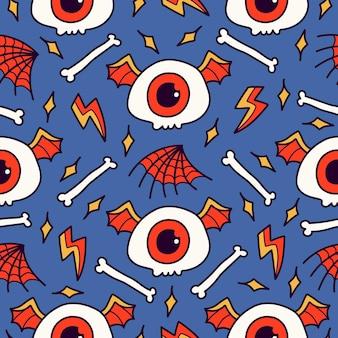 손으로 그린 된 만화 낙서 두개골 완벽 한 패턴 디자인