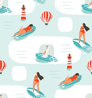 Hand drawn  cartoon drawing summer time fun seamless pattern illustration with riding dogs and girls on surfboard  on blue background.