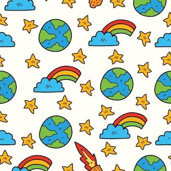 손으로 그린 만화 지구 낙서 패턴 디자인