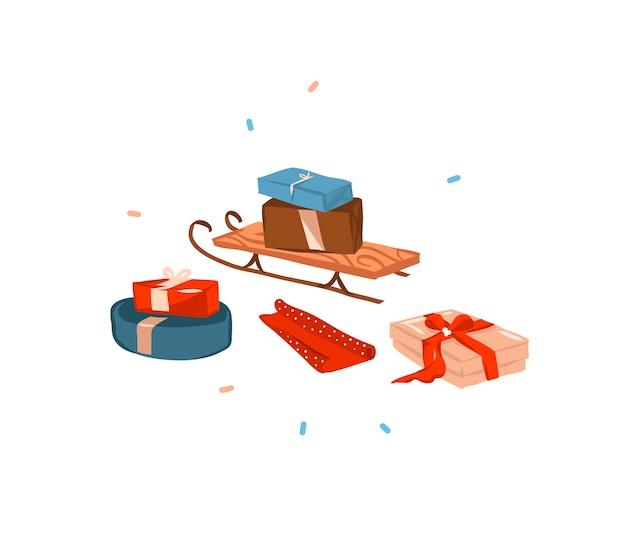 Ручной обращается мультфильм праздничная иллюстрация рождественских санок и подарков коробки подарков изолированы
