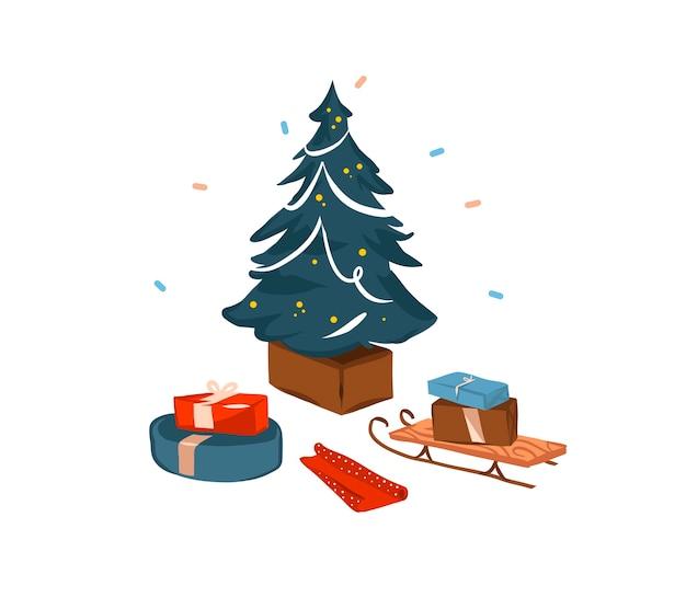Ручной обращается мультфильм праздничная иллюстрация рождественских санок и представляет коробку подарков с изолированной рождественской елкой