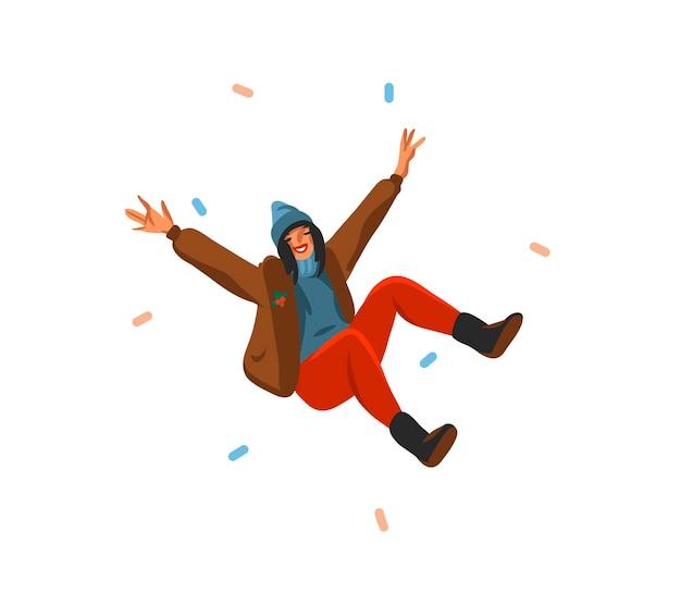 Ручной обращается мультфильм праздничные иллюстрации счастливой женщины изолированы