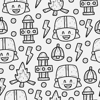 Hand drawn cartoon firefighter doodle pattern design