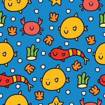 Hand drawn cartoon fish doodle seamless pattern design