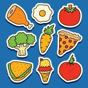손으로 그린 만화 음식 낙서 스티커 디자인
