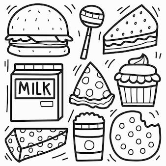 手描きの漫画の食べ物の落書き