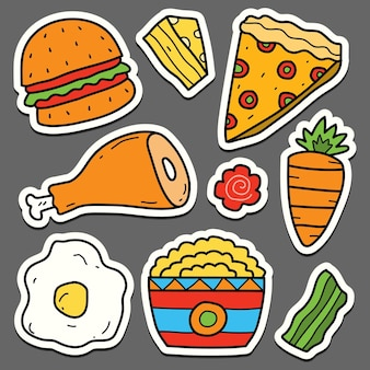 손으로 그린 만화 음식 귀여운 낙서 스티커