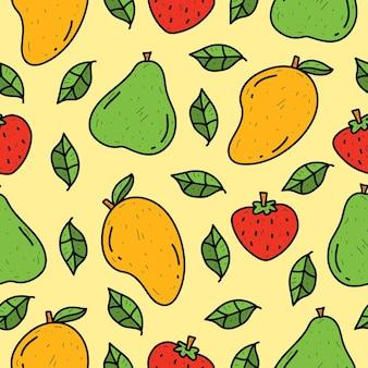 손으로 그린 만화 과일 낙서 귀엽다 원활한 패턴 디자인