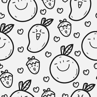 손으로 그린 만화 과일 낙서 패턴 디자인