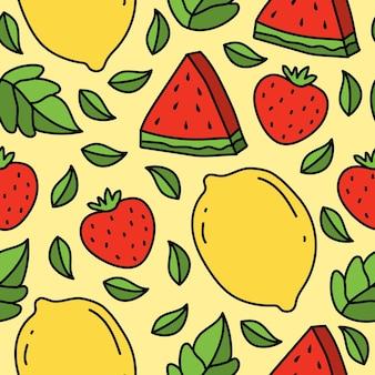 손으로 그린 만화 과일 귀엽다 낙서 패턴 디자인