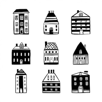Hand drawn cartoon houses set.