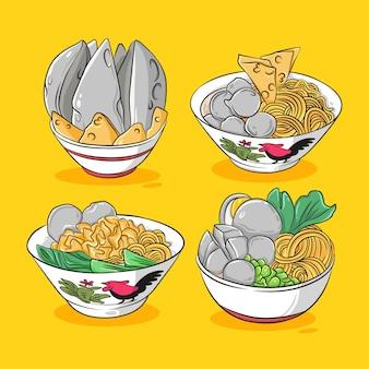 Нарисованная рукой иллюстрация шаржа миски фрикаделек с лапшой индонезийской кухни Premium векторы