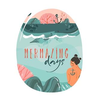바다 해변 풍경, 큰 고래, 일몰 장면 및 mermazing 일 텍스트와 아름다움 인어 소녀와 손으로 그린 만화 그림.