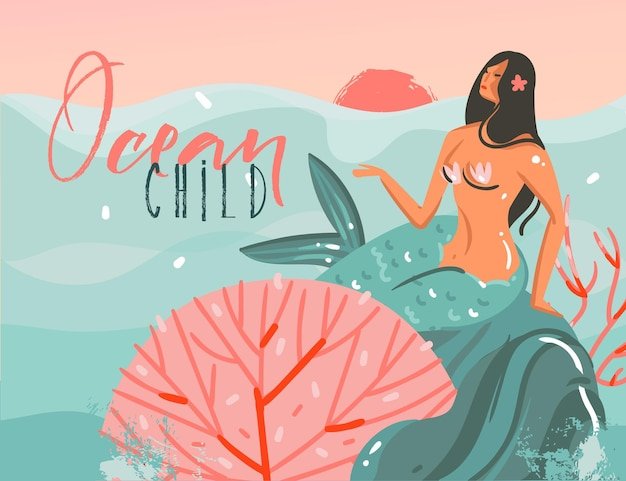 Hand drawn   cartoon illustration with ocean sunset scene,beauty mermaid girl and ocean child typography quote isolated