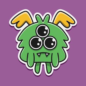 Hand drawn cartoon monster doodle sticker design illustration