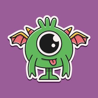손으로 그린 만화 괴물 스티커 디자인 일러스트 레이션
