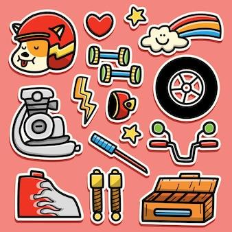 손으로 그린 만화 오토바이 낙서 스티커 디자인