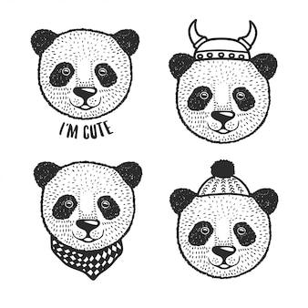 Hand drawn cartoon panda head prints set