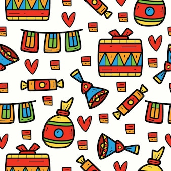 Hand drawn cartoon party doodle pattern