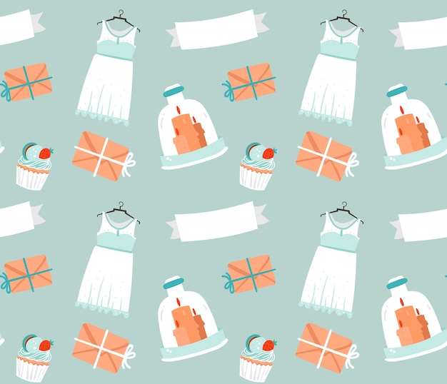 Hand drawn  cartoon rustic sketched wedding elements seamless pattern decoration  on blue background.